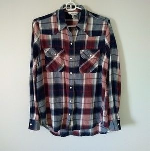 Forever 21 S Flannel Plaid Shirt Snap Button Down